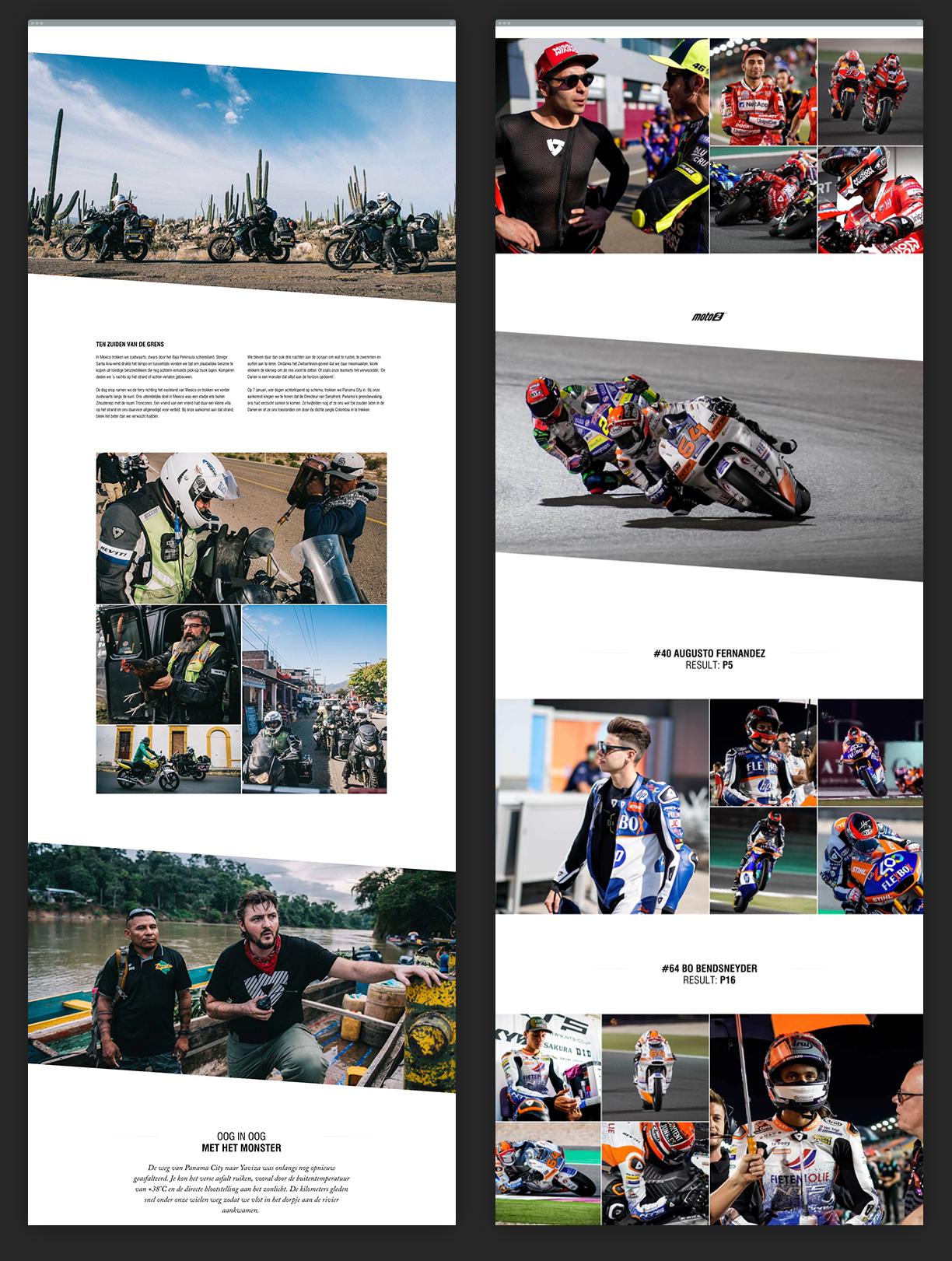 Content creatie. Articles on adventure and MotoGP on the REV'IT Sport website.