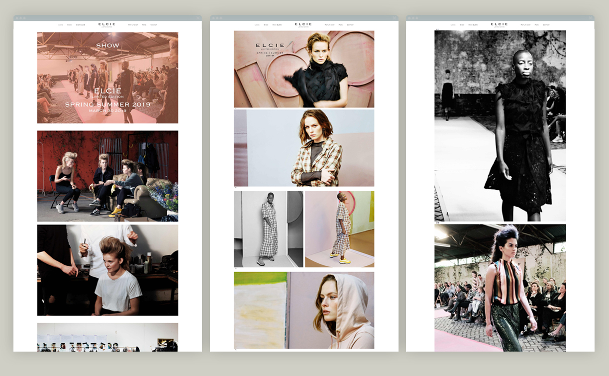 campagne ELCIE Styling website Looks en Show pagina